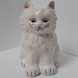 CUTE Toilet Brush Holder Vintage Ceramic White Cat